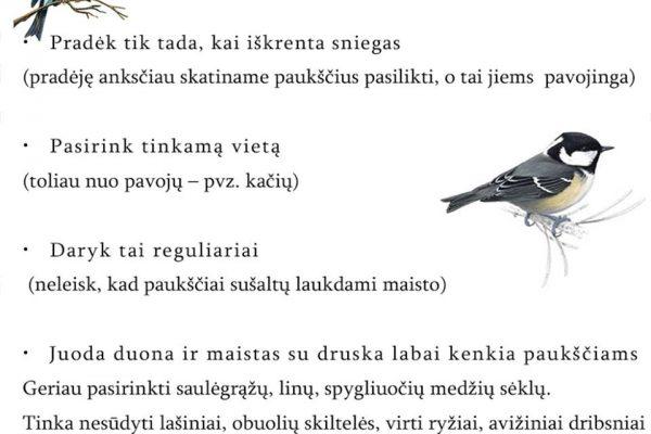 padedame paukščiams