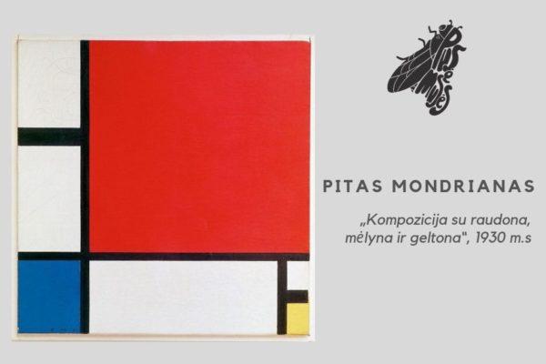 """Penktas paveikslas –  Pitas Mondrianas """"Kompozicija su raudona, mėlyna ir geltona"""""""
